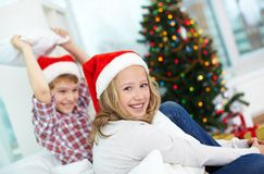 Siblings on Christmas Royalty Free Stock Photo