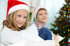 Siblings on Christmas Royalty Free Stock Photography