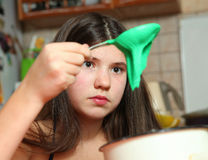 Siblings cooking macaroon cookes Royalty Free Stock Image
