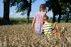Siblings in a cornfield with a basket of bread Royalty Free Stock Photography