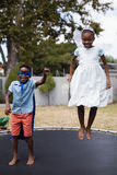 Siblings in costumes jumping on trampoline at lawn Stock Images