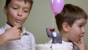 Siblings dagviering Het vieren geboorte van de zuster stock footage