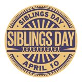 Siblings Day stamp. Siblings Day, April 10, rubber stamp, vector Illustration Stock Image