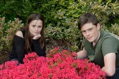 Siblings die voor foto's in de tuin stellen Stock Afbeeldingen