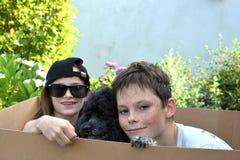 Siblings and dog royalty free stock photos