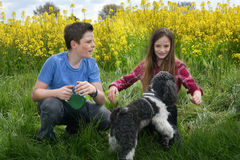 Siblings and dog Royalty Free Stock Images