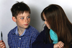 Siblings doing maths homework Stock Image