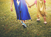 Siblings Dressup Playtime Park Concept. Siblings Dressup Playtime Park Costume Stock Image