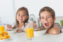 Siblings eating cereal together Stock Photos