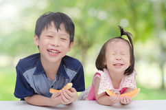 Siblings eating melon in park Royalty Free Stock Photography