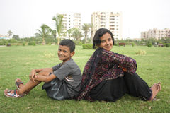 Siblings. Elder sister with younger brother Stock Photos