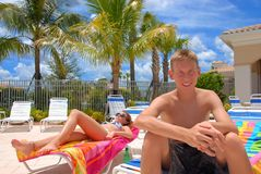 Siblings in Florida. Brother and sister on their vacation in Florida Royalty Free Stock Photo