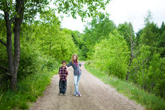 Siblings on a hike Royalty Free Stock Photo