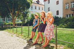 Siblings with ice cream royalty free stock photography