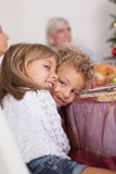 Siblings joking with each other at christmas Stock Photos