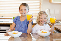 Siblings in the kitchen rising their glasses Royalty Free Stock Photo