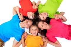 Siblings in kleurrijke t-shirts   royalty-vrije stock foto