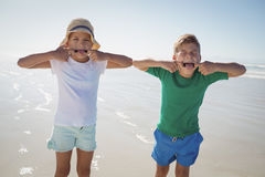 Siblings making teasing faces at beach Royalty Free Stock Photo