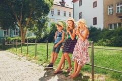 Siblings met roomijs Royalty-vrije Stock Fotografie