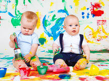 Siblings painting Stock Photo