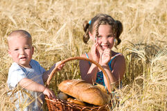 Siblings with a picnic Stock Photography