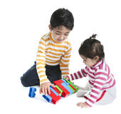 Siblings Playing with Blocks Royalty Free Stock Photo