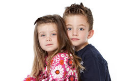 Siblings portrait. Isolated on a white background Royalty Free Stock Images