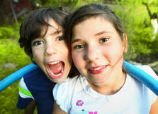 Siblings preteen boy and girl together outdoor Stock Photo