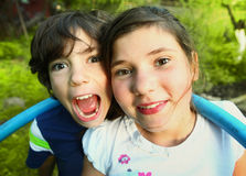 Siblings preteen boy and girl together outdoor Royalty Free Stock Photography