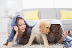 Siblings with puppy under blanket lying on rug. Brother and sister with puppy under blanket lying on rug at home stock images