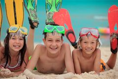 Siblings ready for snorkeling stock images
