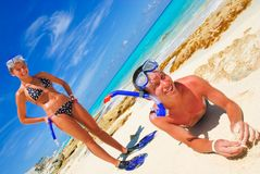 Siblings ready to snorkle Stock Photography