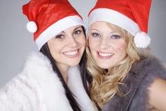 Siblings with santa hat Stock Photo