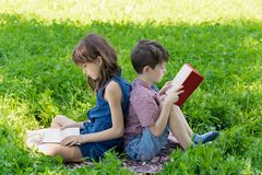 Siblings are sitting back-to-back on the lawn in the park and reading books.