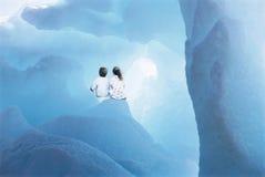 Siblings Sitting In Glacier stock photo