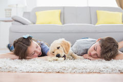 Siblings sleeping with dog on rug Royalty Free Stock Photo