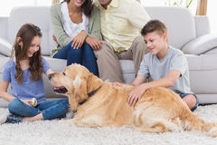 Siblings stroking dog while parents sitting on sofa. Happy siblings stroking dog while father and mother sitting on sofa at home Stock Images