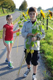 Siblings with sunflowers Stock Images