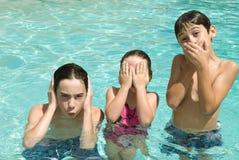 Siblings in swimming pool royalty free stock photo