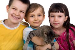 Siblings And Their Cat Royalty Free Stock Photos
