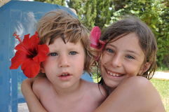 Siblings on vacation. Brother and sister in Tunisia Stock Photo