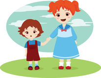 Siblings. Vector illustration of two little kids holding hands while walking Royalty Free Stock Photography