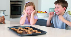 Siblings waiting for hot cookies to cool down stock footage
