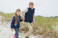 Siblings walking hand in hand at beach Stock Photography