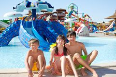 Siblings at a water park Stock Images
