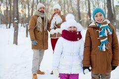 Siblings in winterwear Royalty Free Stock Image