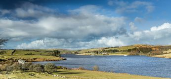 Siblyback Reservoir with view towards Bodmin moor, Cornwall stock photo