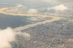 Sibu, Sarawak widok z lotu ptaka Obrazy Royalty Free
