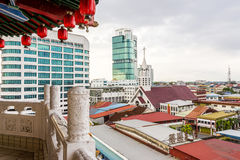 Sibu Skyline. View of Sibu City Skyline with Church and Tower stock photos