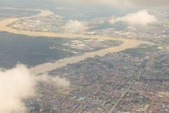 Sibu, vue aérienne de Sarawak Images libres de droits